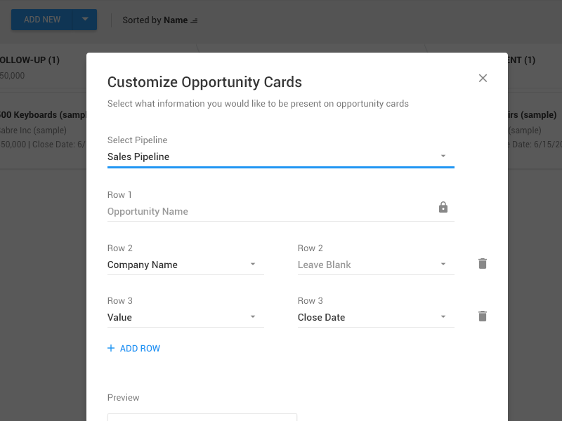 Customize Pipeline Cards prosperworks material design cards opportunity pipeline crm sales