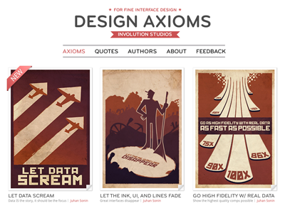 Design Axioms Website clean white website design axioms showcase cards hot pink web interfaces rules interface fundational concepts education designers mobile prototype data product iteration mockup pixel perfect function wireframe layout high fidelity development user experience