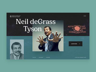 Neil deGrass Tyson // Transition font typogaphy brutalism science blacklead inovative space transparent transition animation layout homepage desktop website main web minimal clean ui ux