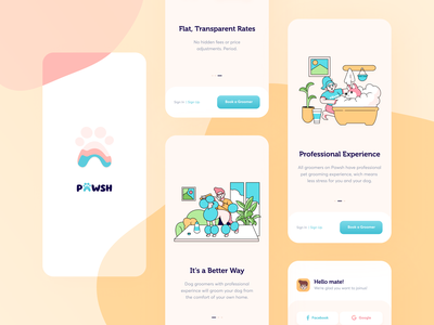 Pawsh // Mobile App typography design colourful grooming minimal interface graphic illustration product blacklead pet application ios app mobile clean ui ux