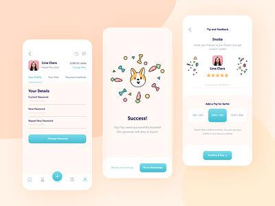 Pawsh // Mobile App Part. 2 interface groom graphic design vector branding illustration clean ui ux dog animal pet application ios app mobile design