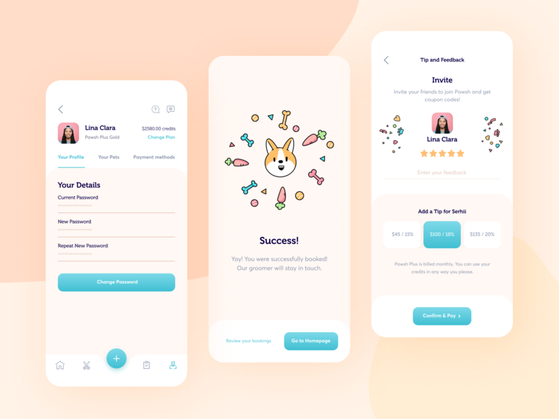 Pawsh // Mobile App Part. 2 interface groom graphic design vector branding illustration clean ui ux dog animal pet application ios app mobile design