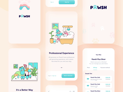 Pawsh // Mobile App All Screens illustraion interface ui startup design grooming pet blacklead colorful digital product mobile application app