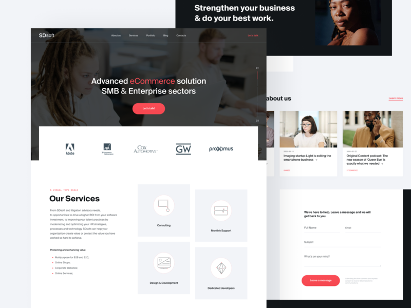 SDsoft // Home page business company grid layout redesign branding minimal ecommerce b2b ui web design website web
