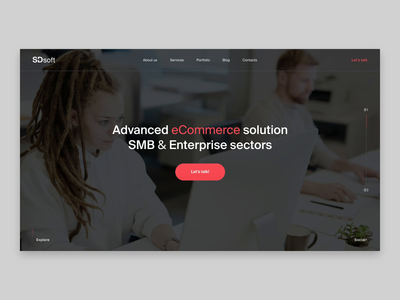 SDsoft // All screens business grid layout ecommerce company web design b2b animation ui minimal clean web website