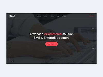 SDsoft // preloader main page desktop animated minimal portfolio clean company transition b2b ui web design website web animation