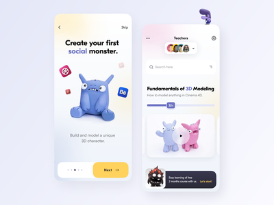 Monstero Workshop // Mobile App learning platform learning app learning modern monster app cinema4d 3d illustration workshop study mobile app mobile design education minimal clean ux ui