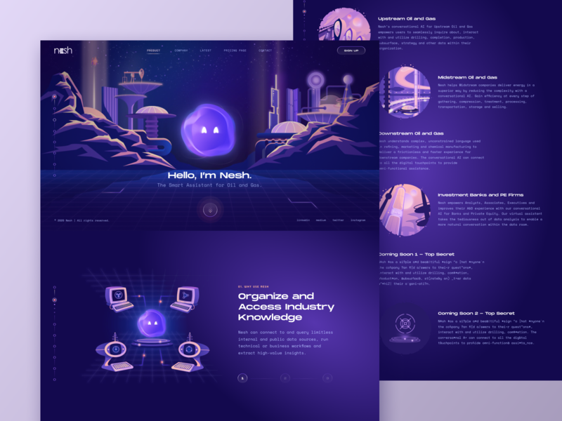 Nesh - The Smart Assistant // Home Page smart assistant ai homepage services retro futurism assistant web design gradient futurism futuristic smart ux ui illustration layout main design website web