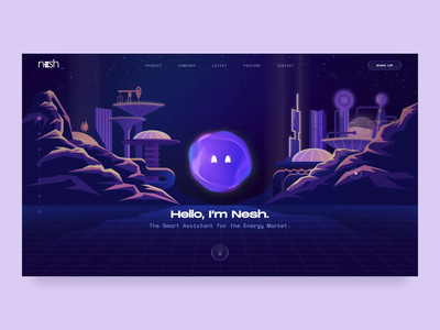 Nesh - The Smart Assistant // Main Animation smart services retro design ux ui illustration future transition interaction character emotion branding bot assistant animation 3d nesh main website web