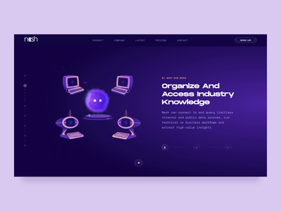Nesh - The Smart Assistant // Home Page Animation website web transition smart services design retro nesh home page interaction illustraion future emotion character branding bot assistant animation 3d ui