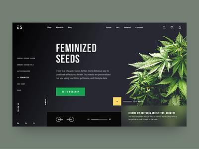 Errors Seeds // Other Main Screen product grean product design marijuana cannabis weed homepage creativity black desktop main website minimal web clean ux ui