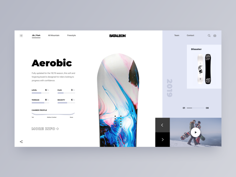 Promo Website for a New Line of Snowboards asymmetry layout experiment golden canon grid scandinavian design promo website zajno bataleon snowboard main minimal web clean ux ui