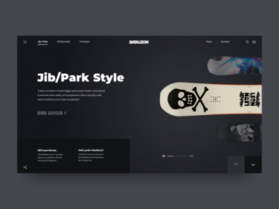 Promo Website for a New Line of Snowboards