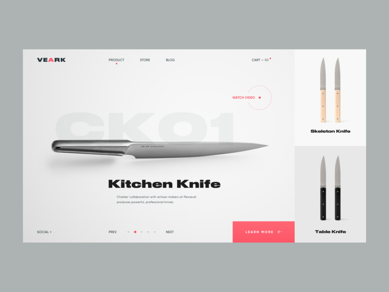Knife Store // Main Page scandinavian style product ecommerce store knife black lead gray promo website interface layout homepage design desktop main website web minimal clean ux ui