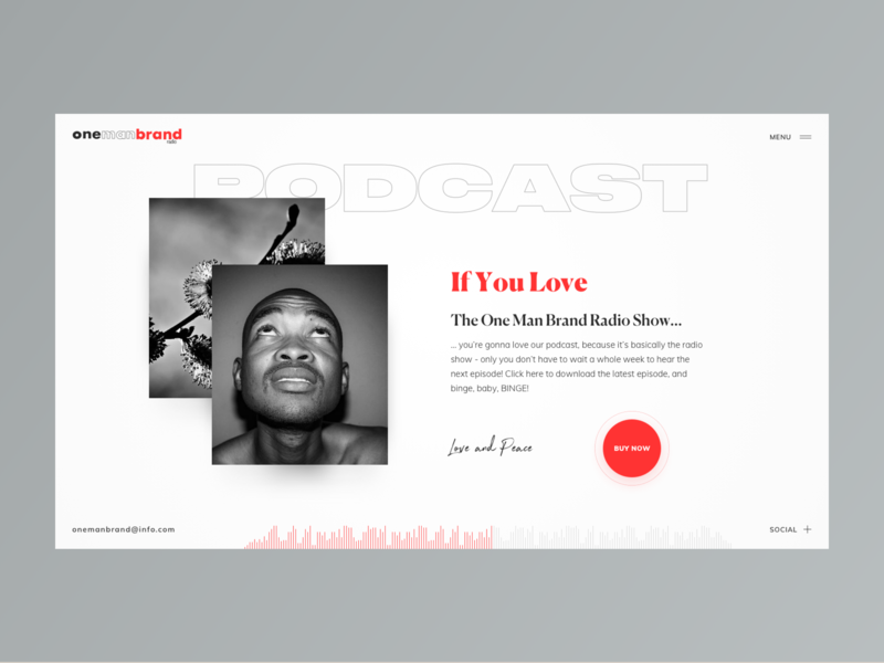 One Man Brand Radio  // Podcast Page black lead blogger media typography layout homepage design creativity black desktop main website web minimal clean ux ui