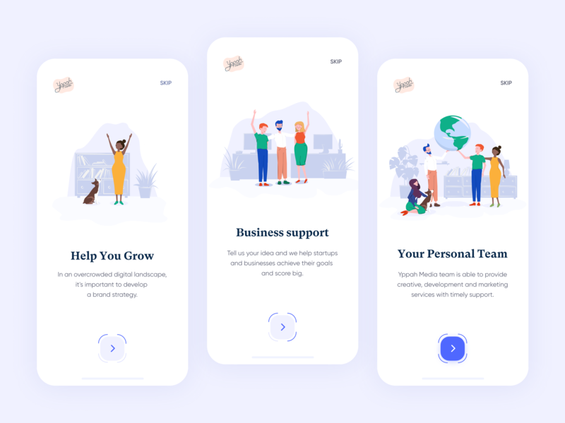 Yppah Studio // Onboarding app picture screen onboard onboarding redesign modern apple white studio application mobile illustration branding vector design minimal clean ui ux