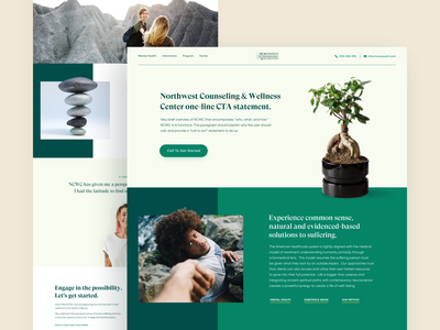 NCWC // Home page green center help center medicine medical business layout homepage design creativity desktop main website web minimal clean ui ux