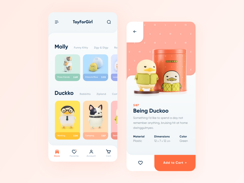 Mobile App for Toy Store// Concept store app application mobile ui app shop store toy colors mobile branding illustration interface layout design creativity main minimal clean ui ux