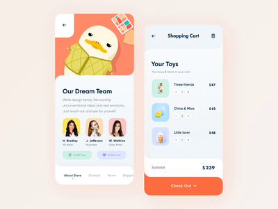Mobile App for Toy Store// Inner screens