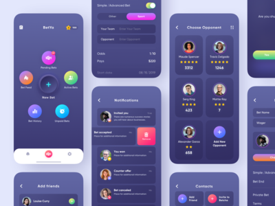 Mobile App for BetYa // More screens ios app gradient bet money interfaces product design typography mobile app mobile dark theme interface layout creativity design main minimal clean ui ux