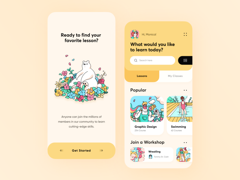 Design Learning Platform App // Concept courses education app study onboarding student learning app ios yellow mobile app app design course lesson typography vector illustration design minimal clean ui ux