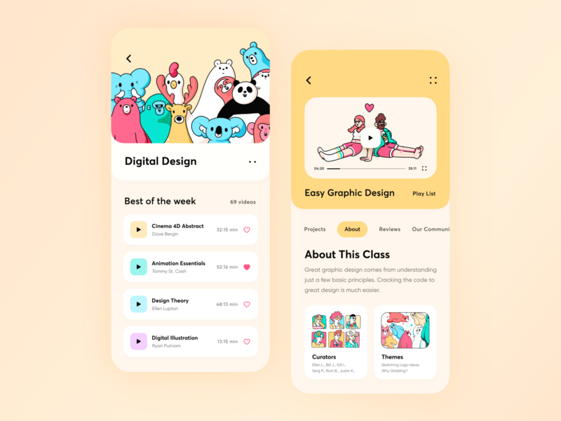 Design Learning Platform App // Concept 2 courses education ios learning app lesson mobile app ui card student study typography yellow branding vector illustration minimal ui course clean app design ux