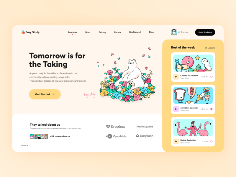 Design Learning Platform App // Main Screen yellow lesson application platform dashboad app design student course education app study homepage vector illustration desktop main web minimal clean ui ux