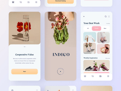 Inspiration App // All pages mobile ios interior inspiration gradient motion fashion app design creative color application app design app branding illustration creativity minimal clean ui ux