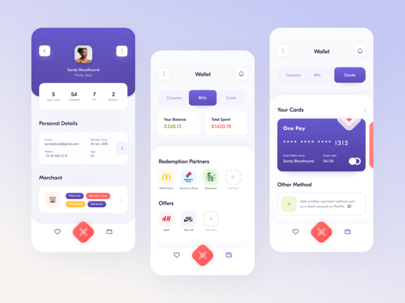 Food Cycle // // Product design Part.2 creditcard card mobile experience product design product interface gradient smart blacklead application mobile app app profile food web minimal clean ui ux