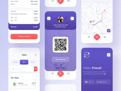 Food Cycle // All pages product design animation interface experience gradient mobile design map creditcard qr code mobile payment app wallet product profile app design main minimal ui ux