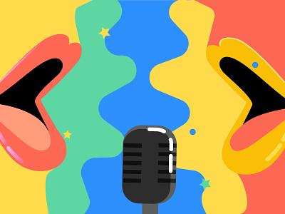 Podcast Creators mic colorful 80s patreon creators mouth podcast