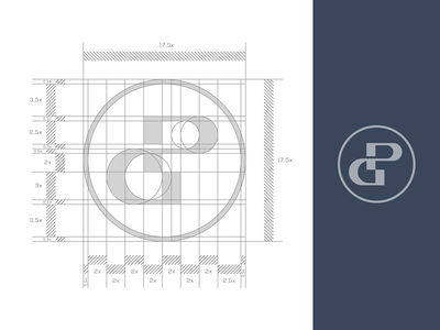 Construction Monogram  / Letter : P + G design creative black symbol branding typography brand logo mark idea