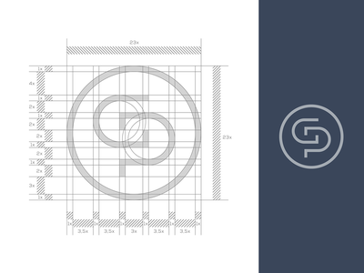 Construction Monogram / Letter : P + G icon negative brand illustration branding symbol typography mark logo design idea