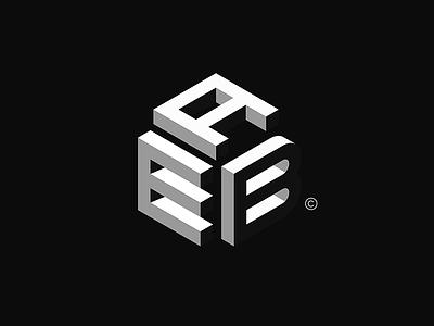 EAB creative branding minimal black negative typography logo mark idea design