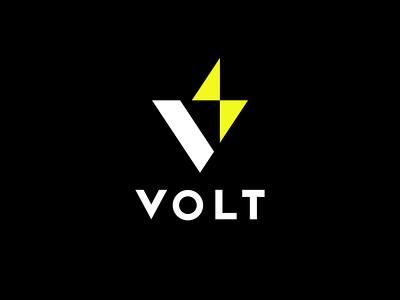 VOLT minimal symbol branding space black negative brand logo mark design