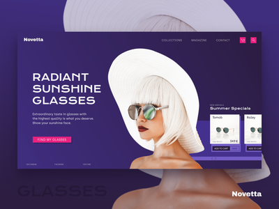 Novetta sunglasses header shop web desgin