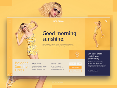 Bologna Shop bright sunshine yellow store layout fashion shop web design