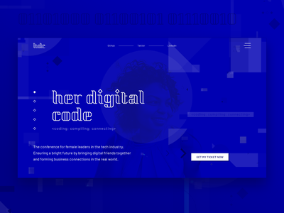 her digital code conference digital women blue typography call to action landing page web desgin