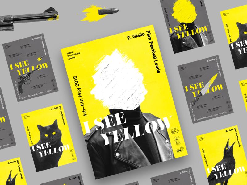Giallo Film Festival Series yellow black branding movies poster art giallo film festival poster