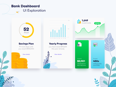 Bank Dashboard UI Exploration green blue graphs charts illustrations webdesign web banking app banking dashboard ui