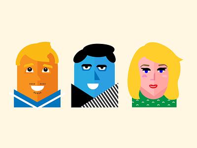 Co-workers people vector color portrait illustration