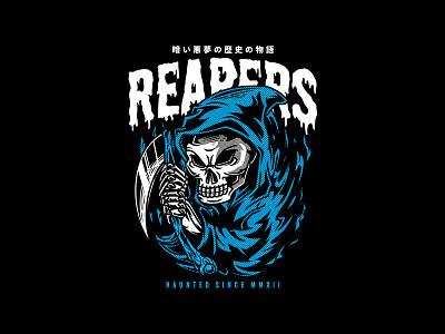 Reapers artsy niche streetwear skeleton clothing tees urban apparel project custom design t-shirt design illustration