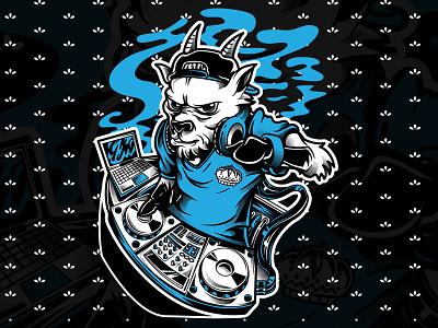 Stylish Goat DJ merch music artwork custom event show music festival club artsy illustration