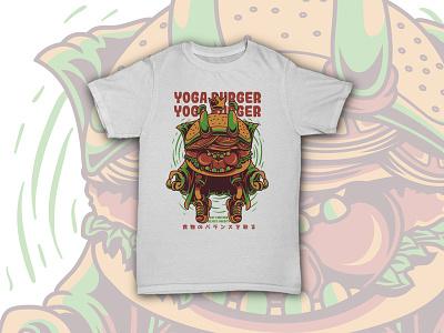 Yoga Burger burger merch apparel stock graphic illustration funny character junk food food yoga