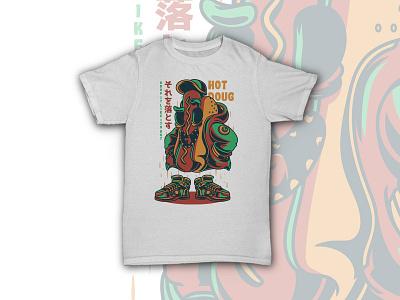 Hot Doug dope hype streetwear mascot funny hotdog food urban t-shirt design apparel illustration