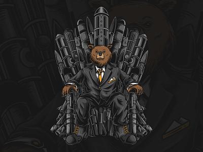 Throne of Grizby cartoon detail throne work custom bear animal mascot illustration