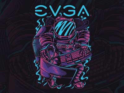 Space Gamer character gamer computer astronaut space custom artwork illustration
