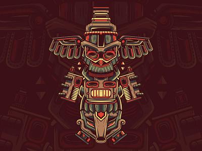 Vapor Totem service artwork native character industry vape indian totem custom illustration