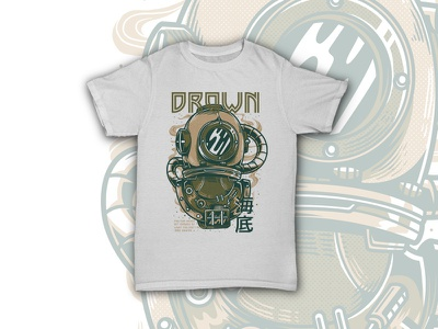 Drown apparel japanese vintage dark steampunk retro style poster emotional character illustration