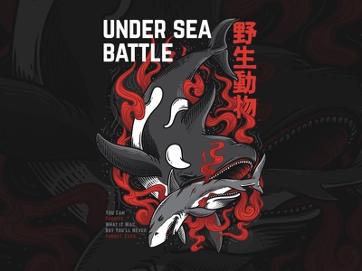 Under Sea Battle graphics custom oriental character blood artwork illustration sea whale animal